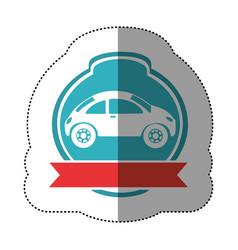Sports car in blue background and heraldic round vector