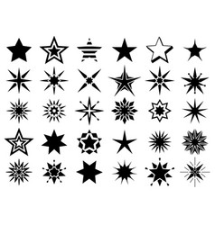 stars shape black signs vector image