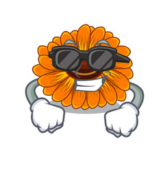 Super cool calendula flowers in a cartoon basket vector