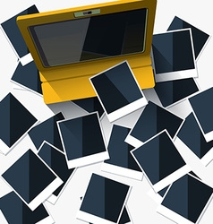 Tablet costs on photographs top view flat style vector image