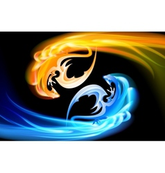 The pair of dragons turning in the sky vector image