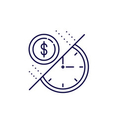 time is money icon outline style coin and vector image