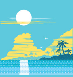 Tropical paradise island palms poster vector