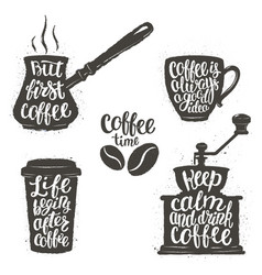 vintage coffee objects set with quotes vector image