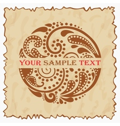 Vintage emblem with a beautiful leaf pattern eps10 vector image
