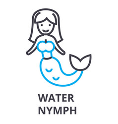water nymph thin line icon sign symbol vector image