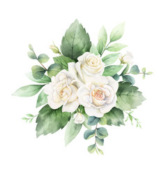 Watercolor hand painted bouquet with green vector