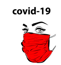 Woman face in mask virus covid19 epidemy vector