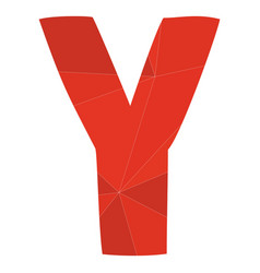 Y red alphabet letter isolated on white background vector