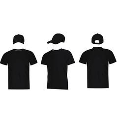 black baseball cap and t shirt vector image