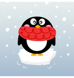 Cute winter penguin on sparkling iceberg vector image vector image
