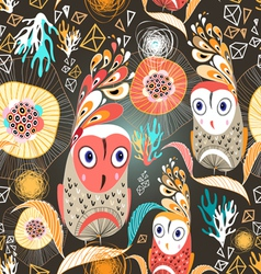 floral pattern with owls vector image