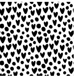 ink hand drawn hearts and circles seamless pattern vector image
