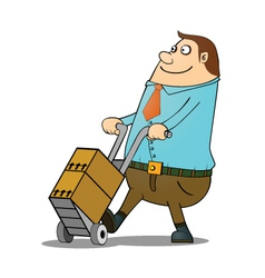 Man pushing cart vector image vector image