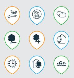 set of 9 eco icons includes ocean wave delete vector image vector image