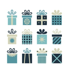 Set of flat gift packages Christmas gifts vector image vector image