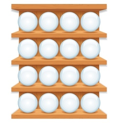 Wooden Shelf with Round Glass Buttons Art vector image vector image