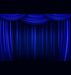 blue silk curtain background vector image