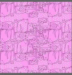bright pink seamless pattern with sleepy cats vector image vector image