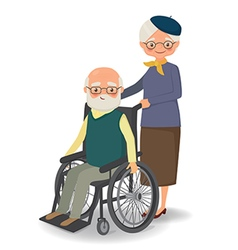 Elderly woman strolling with disabled elderly man vector image vector image