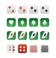 Set of icons for applications with playing cards vector image