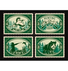 set template of stamps with elements for hunting vector image