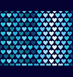 hearts seamless pattern in blue tones happy vector image vector image