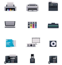 Office electronics icon set vector