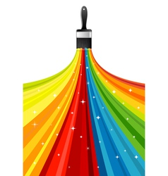 Rainbow brush with stars vector image