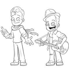 Cartoon street musicians with guitar character set vector
