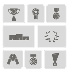 monochrome icons with awards vector image vector image