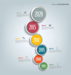 time line info graphic vertically with round vector image