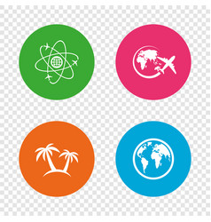 travel trip icon airplane world globe symbols vector image