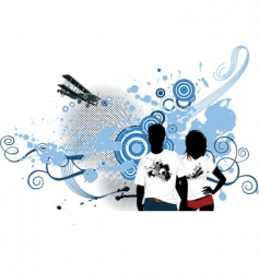 young people with airplane vector image