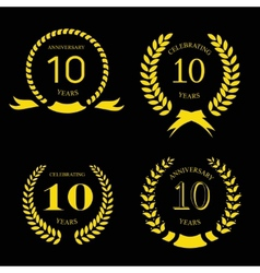 10 years anniversary laurel gold wreath set vector image
