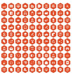 100 contact us icons hexagon orange vector
