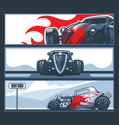 A collection three banners with hot rod cars on vector