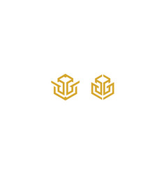 Abstract line art bull logo icon vector