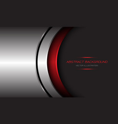 Abstract silver red metallic curve black line vector