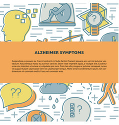 Alzheimers disease concept banner template in line vector