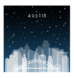 Austin night in zurich night city in flat style vector