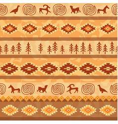 aztec seamless pattern with animals silhouette vector image