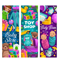 Baby care toys shop cartoon kids stuff vector