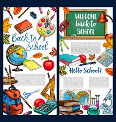 Back to school chalkboard sketch poster vector