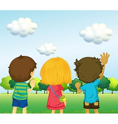 Backview of three kids vector