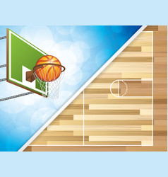 Basketball concept with hoop vector