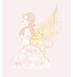 beautiful fairy graphic doodle vector image