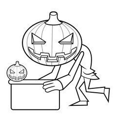 Black and white pumpkin mascot is holding a board vector