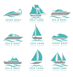Boat logo and yacht label set Fast motor vector