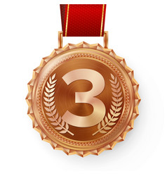 bronze medal bronze copper 3rd place vector image